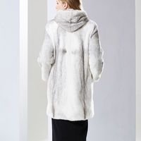 New Real Mink fur coat women with hood Winter thick warm Natural fur outwear Genuine Leather Real fur coat Female long