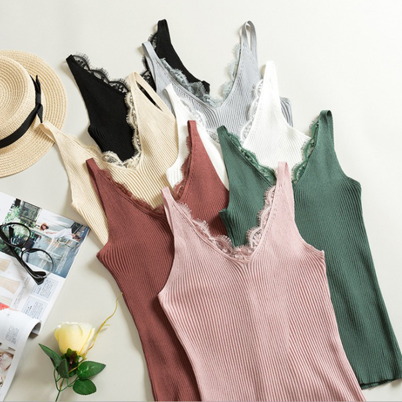 New Knitted   Tank     Tops   Women Sleeveless Stretchable V Neck Slim Camisole Sexy Lace Patchwork Solid Color Camis Vest Casual   Tops