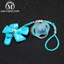 MIYOCAR Any name can make Personalised bling blue bow pacifier clip holder dummy chain with set