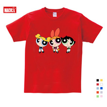 the powerpuff girls t shirt Pure Cotton clothing little boy girl Short Sleeve Round Neck  Children Clothes for 3 4 5 6 7 8 year все цены