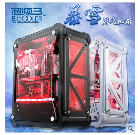 PCCOOLER Blizzard acrylic transparent chassis seven colorful long graphics card ATX big board water cooling game chassis