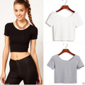 8 Colors Short Sleeve Solid Crop Tops Female 2017 O-Neck Casual Slim Mini T-Shirts for Women Fashion Cute Cropped Blusa Pink