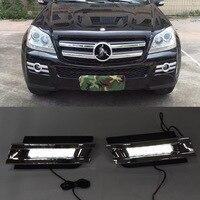 Углеродное волокно тюнинга светодиод дневного света для Mercedes Benz gl class gl350 gl400 gl450 gl500 X164 2006 2007 2008 2009 год Бесплатная доставка