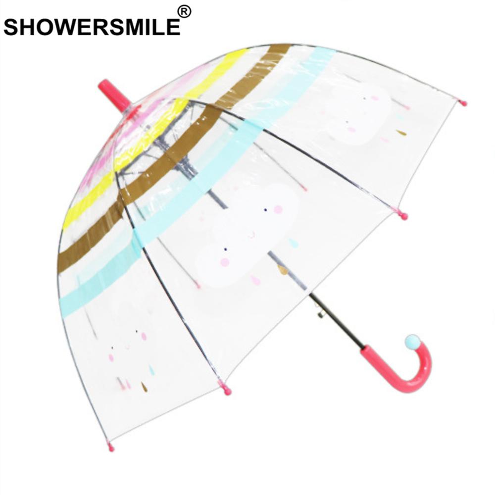 SHOWERSMILE Kids Transparent Umbrella Children Long Handle Kid Umbrellas Rain Cartoon Cloud Rainbow Boys Girls Cute Umbrella