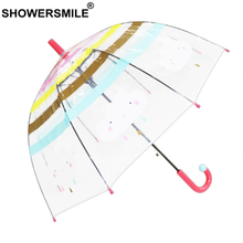 SHOWERSMILE Kids Transparent Umbrella Children Long Handle Kid Umbrellas Rain Cartoon Cloud Rainbow Boys Girls Cute