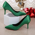 Women Pumps Spring High Heel Red Green Sexy Pointed Shoes Woman PU Casual Wedding Shoes SFHS012