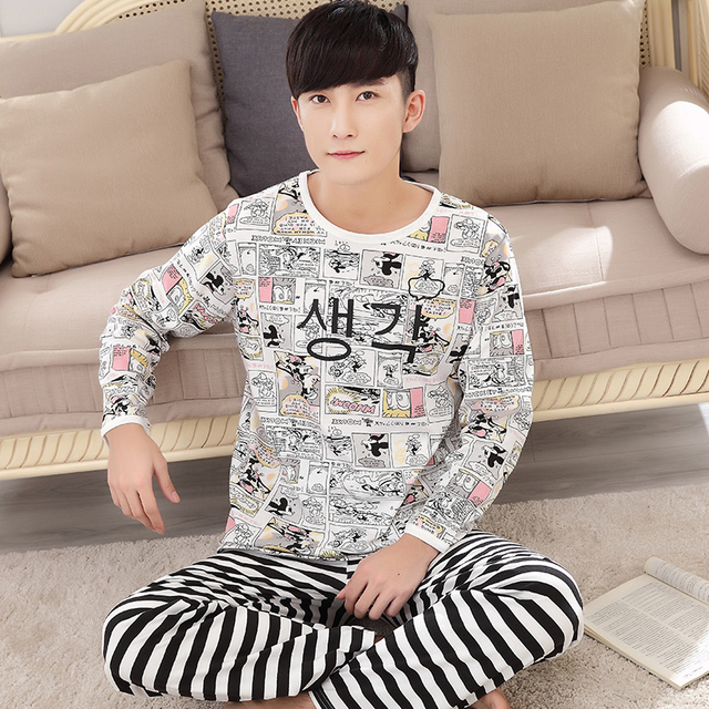 2017 New Sleepwear Sets for Men Good Quality Cotton Long Sleeves Fashion Printing - 5081