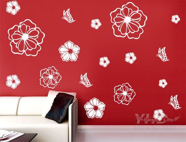 Glas koelkast bloemen diy vinyl muurstickers home decor art decals