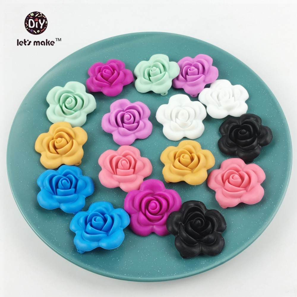 Let s Make 100pc Silicone Teether Rose Flower Food Grade Baby Accessories Chewbale Toys DIY Necklace