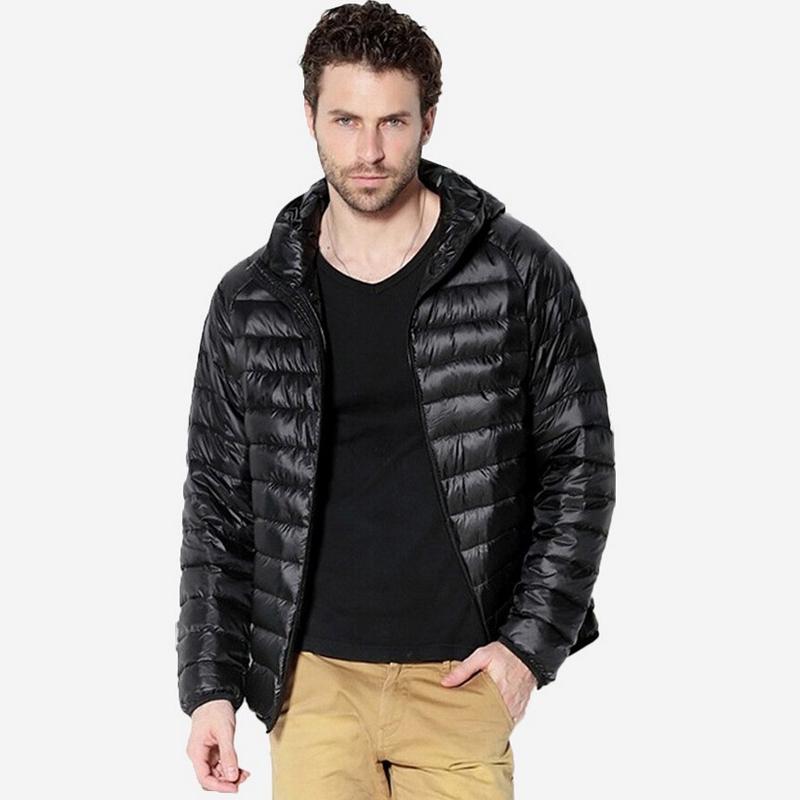 Winter <font><b>Jacket</b></font> Men Duck Down <font><b>Jackets</b></font> Mens Solid Breathable Coats Parka hombre Hooded Lightweight Coat hombre jaqueta
