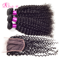 Grade 7A+Unprocessed Virgin Hair With Closure Peruvian Curly Hair With Closure Top Kinky Curly 4 Bundles With Cheap Lace Closure