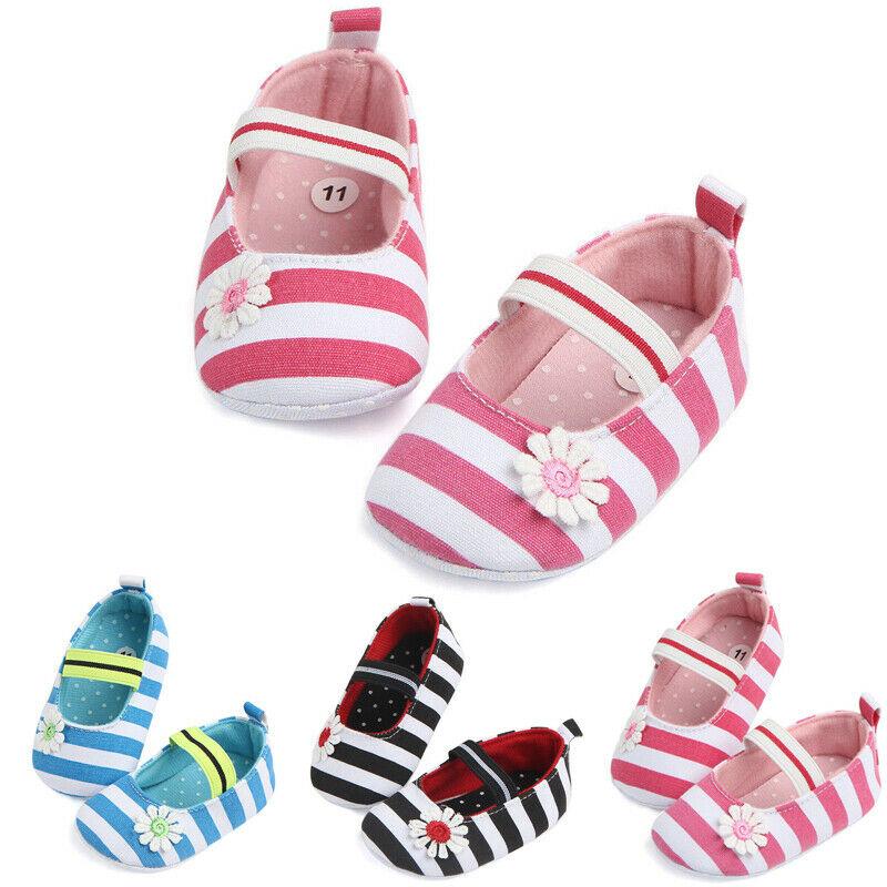 Cute Newborn Baby Girl Striped Soft Crib Shoes Elastic Closed Infants Anti-slip Sneaker Prewalker 0-18M
