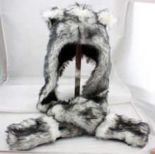 Wolf Stuffed Animal Hood Hoodie Hat Faux Fur 3 in 1 Function White Fuzzy Ear LONG Flap  free shipping 1pc lot popular crazy panda high quality faux fur hood animal hat with ear flaps and hand pockets 3 in 1 function