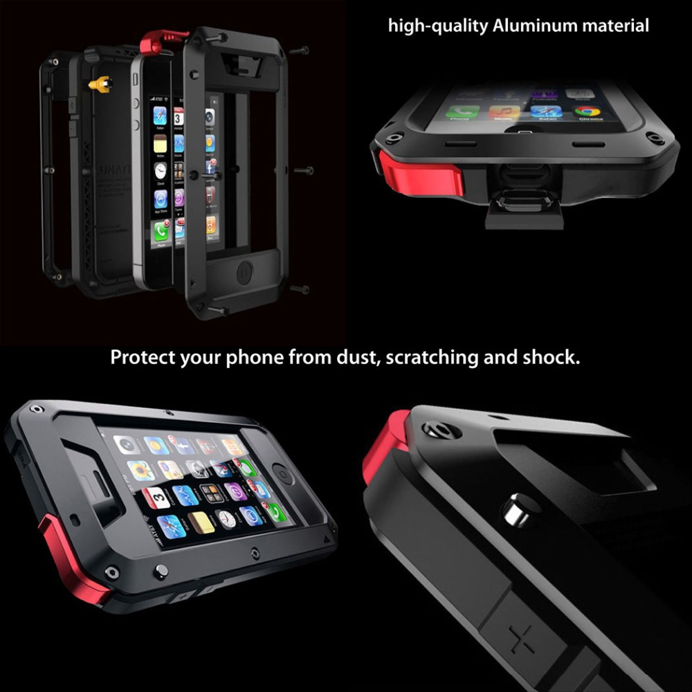 premium selection 0a44d 77969 US $17.0 |New doom armor Dirt Shock Waterproof 4proof Metal Aluminum cell  phone case For iphone 4 4s 5 5c 5s SE 6 Plus With Tempered glass on ...