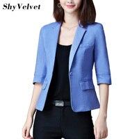 Shyvelvet Kadın Blazer 2018 Sonbahar Katı Kadın Ceket Uzun Kollu Ince Temel Coat Blazers Feminino Mavi Sarı Pembe Beyaz