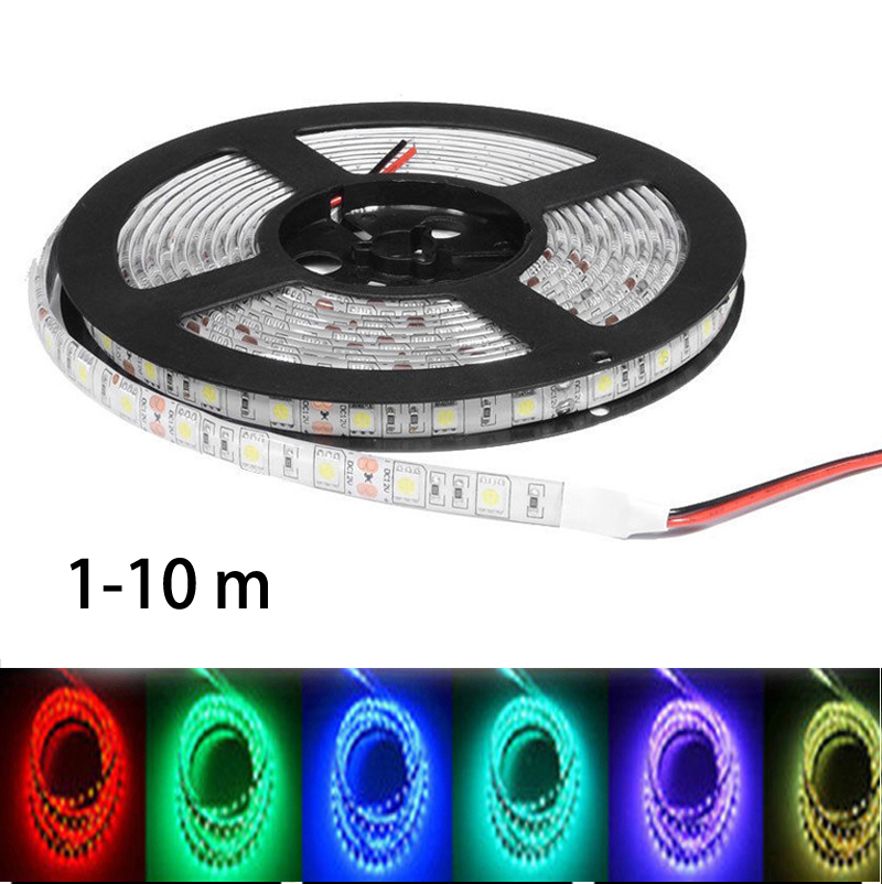 цена на LED Strip 5050 smd Waterproof non/ip65 DC 12V 60LEDs/m Flexible LED Light RGB 5050 LED Tape Lamp neon light Car lamp 1-10m
