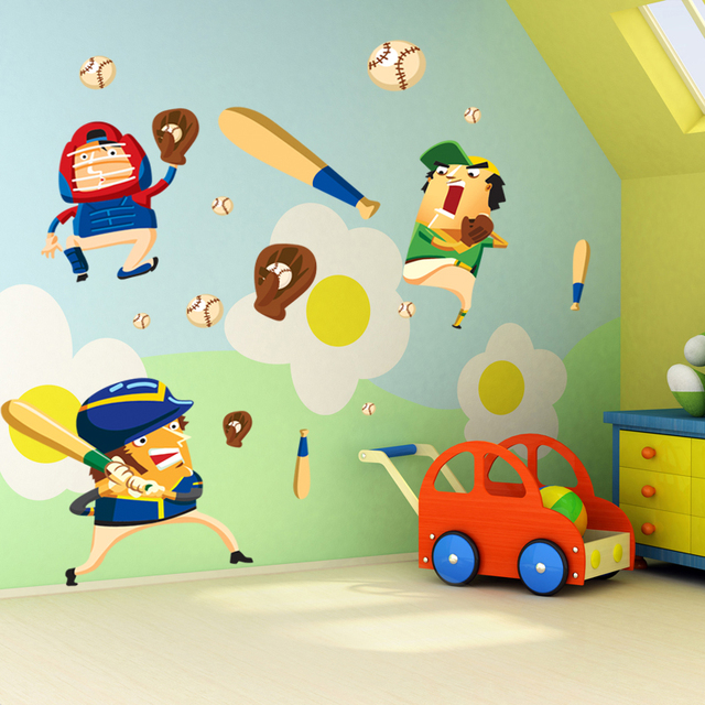 Decorative Carton Sports Baseball Wall Sticker Home Decor For Boys Room DIY Decal On Children