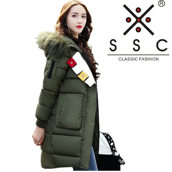 SSC 2017 New Women Long Winter Bomber Jacket Plus Size Leisure Warm Cotton Coat  Pure Color  Hooded Fur Collar Female Parkas 603 women winter coat leisure big yards hooded fur collar jacket thick warm cotton parkas new style female students overcoat ok238