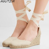 AGUTZM Women Ankle Strap Espadrilles Wedge Sandals 2018 Summer Canvas Platform Wedges Fashion Lace up Women Platform Sandals