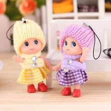 5 PCS/set  8cm Small Mini Doll Mobile Phone Pendant Hat Clown Plush Cute Plaid Skirt Confused Dolls Keyring