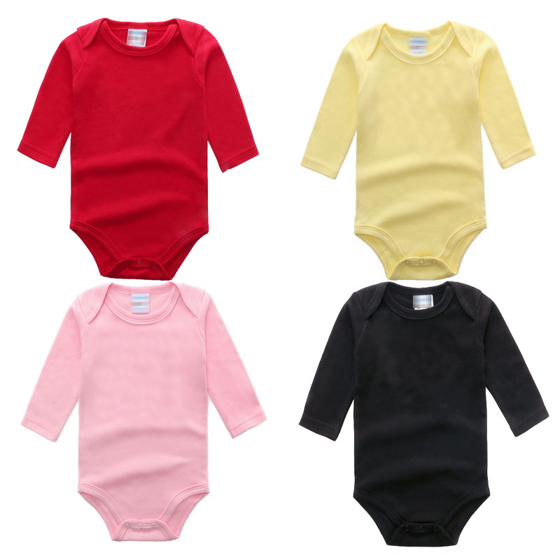 2018 Top Quality Cotton Baby Clothes 0-24M Newborn baby boy girl clothes Jumpsuit Long Sleeve Infant Product solid  Baby Rompers newborn cotton cute white with loving heart baby rompers long sleeve soft colorful toddler baby boy girl clothes kids jumpsuit