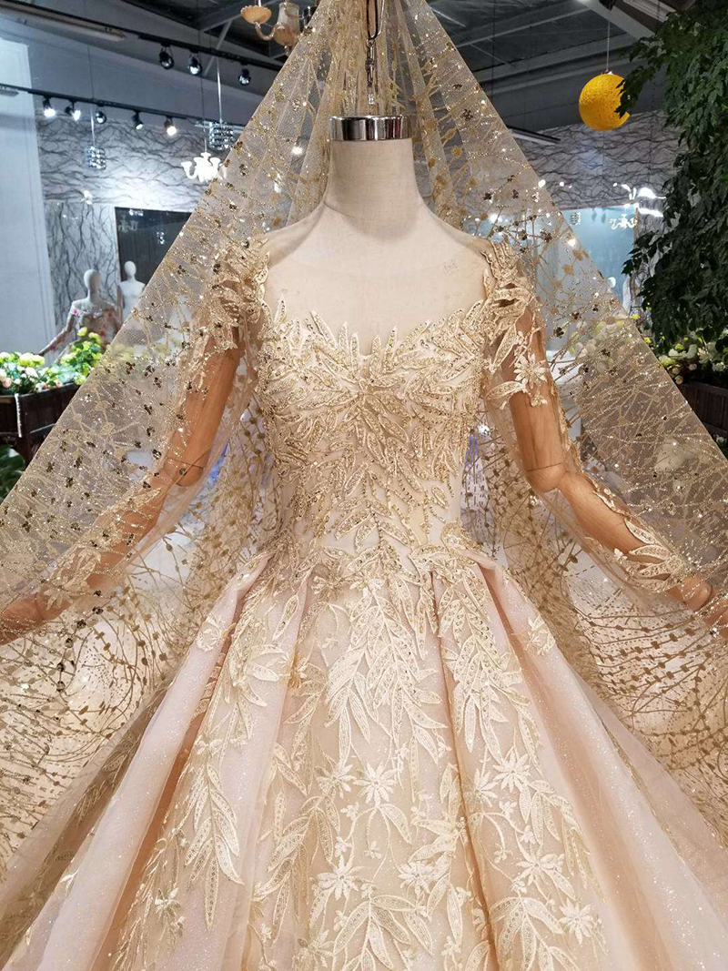 Image 4 - HTL125 muslim wedding dresses 2020 o neck long tulle sleeve beaded shiny lace cheap wedding gown fashion New material mariageWedding Dresses   -
