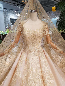 Image 4 - HTL125 muslim wedding dresses 2020 o neck long tulle sleeve beaded shiny lace cheap wedding gown fashion New material mariage