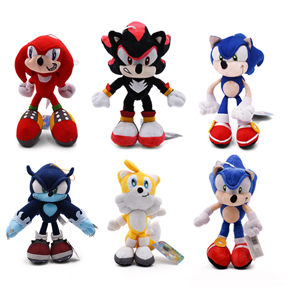 6Styles Sonic Peluche Toys Black Blue And Red Sonic Plush Toys Soft Stuffed Dolls Baby Gift For Kids' Christmas