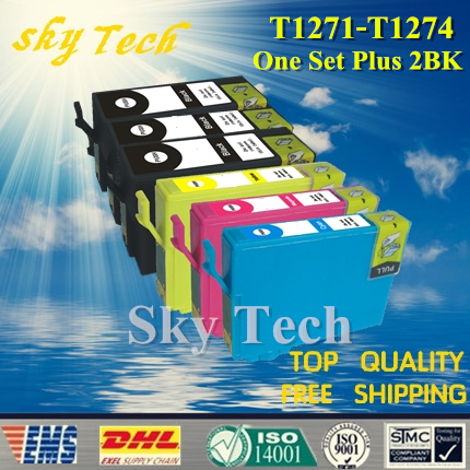 One Set Plus <font><b>2</b></font> BK Compatible Cartridge For T1271 - T1274 , For Epson NX530 NX625 WF-3520 WF-3540 WF-<font><b>7010</b></font> WF-7510 WF-7520 etc image