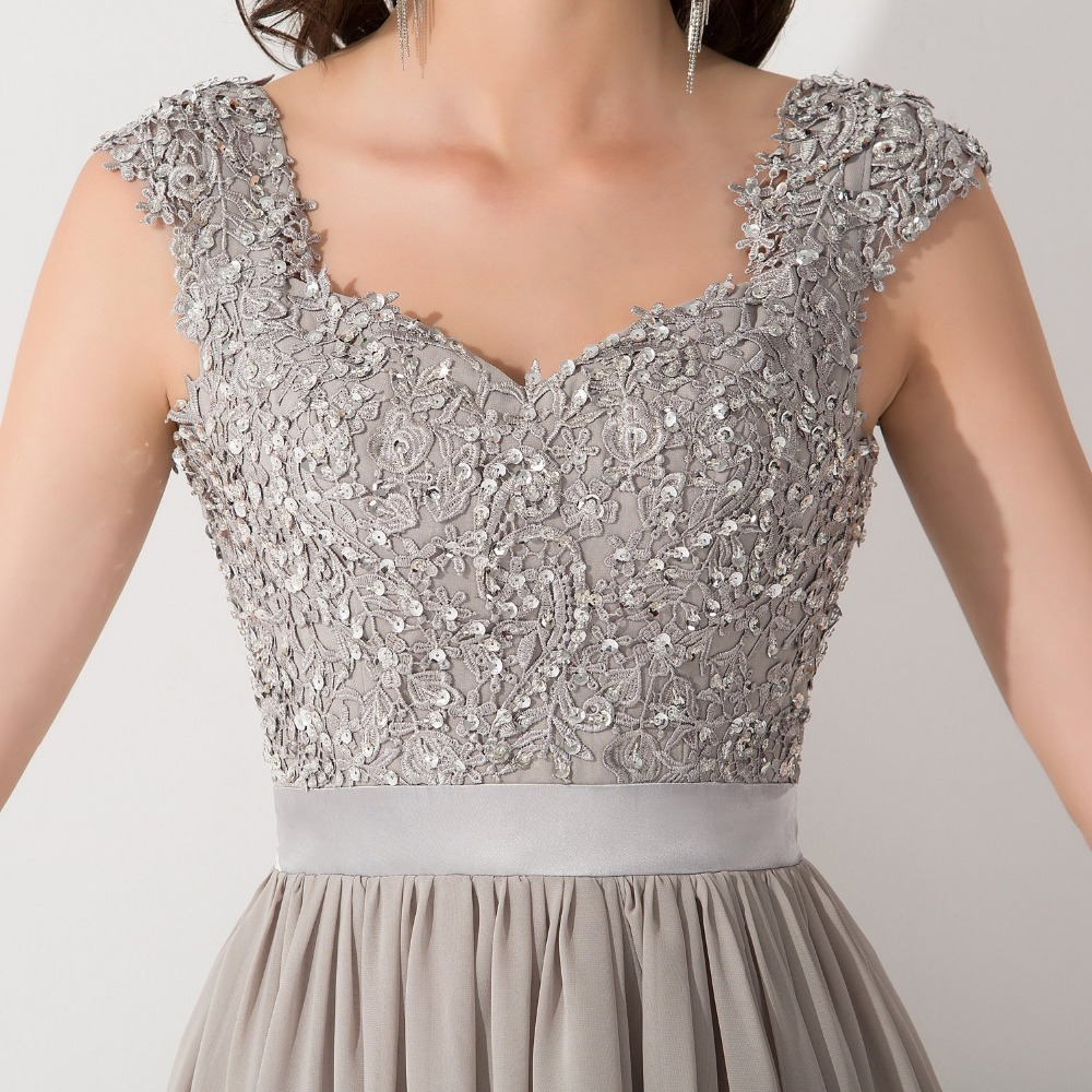 bb598398363 2017 New Arrival Formal Grey A Line Cap Sleeves Chiffon Long Evening Dresses  To Party Beaded Lace Top Vestido De Festa-in Evening Dresses from Weddings  ...