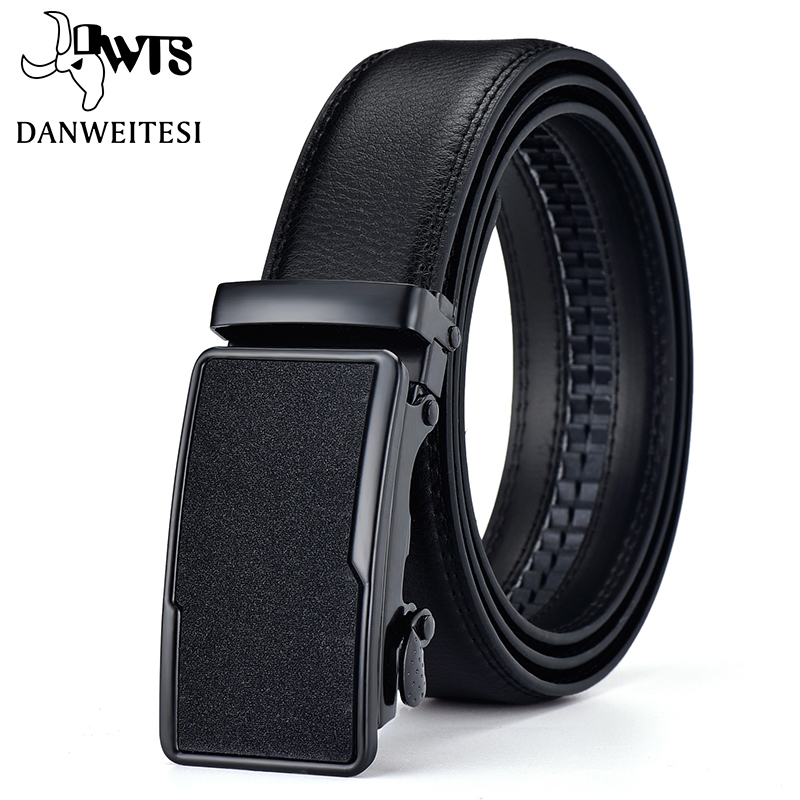 [DWTS]Belt Male Genuine Leather Strap Belts For Men Top Quality Belt Automatic Buckle Black Belts Cummerbunds