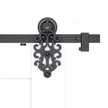 DIYHD 5FT-10FT богато вырезанные двери сарая ролик деревенский черный оборудование для раздвижной двери сарая