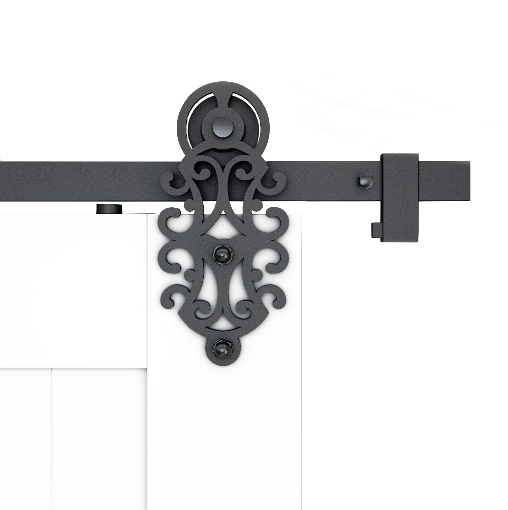 DIYHD 5FT-10FT Ornate Cut Barn Door Roller Rustic Black Sliding Barn Door Hardware