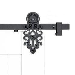 DIYHD 5FT-10FT ozdobny krój rolka do drzwi stodoły rustykalny czarny osprzęt do drzwi przesuwnych do stodoły