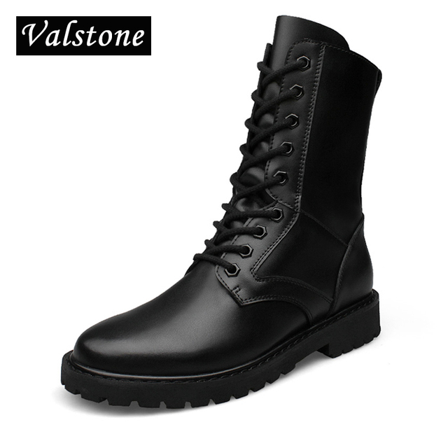 79d06b2b4a7 US $56.39 39% OFF|Valstone Hand made Combat boots men Luxury Genuine  Leather boots high tops lace up Motorcycle boots Spirng & winter Plus size  50-in ...