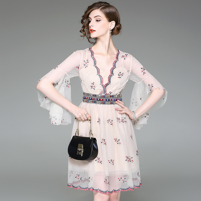 62dfa404919 US $54.42 9% OFF| 2017 Elegant Floral Print Embroidery Short Butterfly  Sleeve knee Length Summer Dress Female Party Vestidos Dress Mesh dresses-in  ...