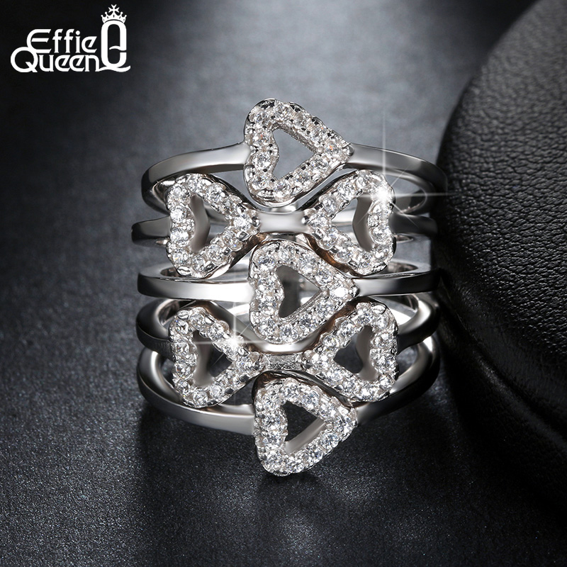 Effie Queen Luxury Crystal Zircon font b Rings b font Wedding Jewelry Hearts to Hearts Cluster