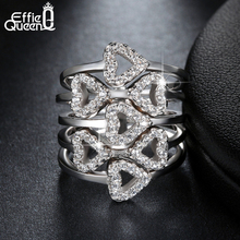 Effie Queen Luxury Crystal Zircon Rings Wedding Jewelry Hearts to Hearts Cluster Ring Women Platinum Plated Accessories DAR029