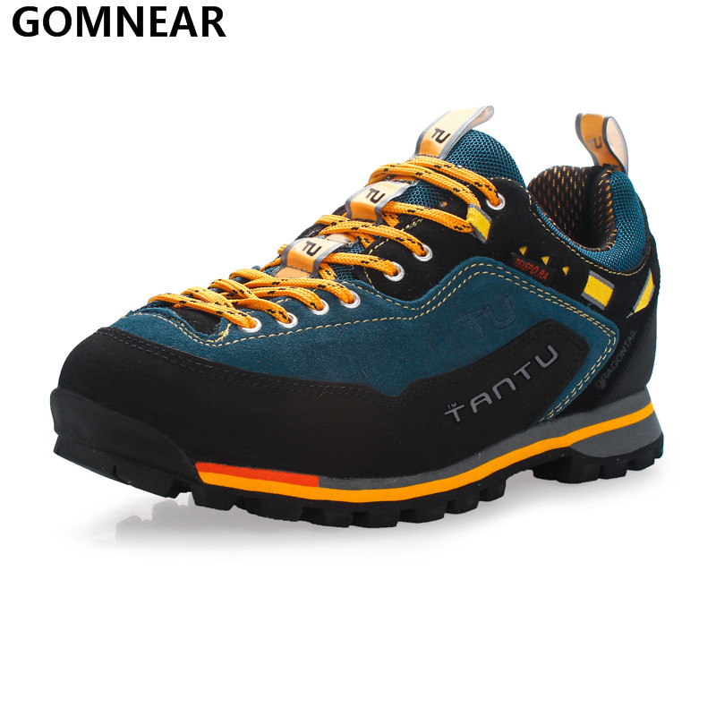 GOMNEAR Men Waterproof Hiking Shoes Outdoor Fishing Hunting Athletic Shoes Antiskid Tourism Walking Climbing Camping Sport