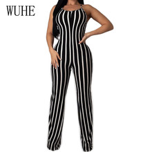 WUHE Sexy Backless Sleeveless Summer Black and White Striped Jumpsuits Women Bodycon Bandage Long Playsuits Elegant Rompers