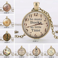 Glass So Many Books So Little Time Letter Pendant Necklace Jewelery Lover Gift