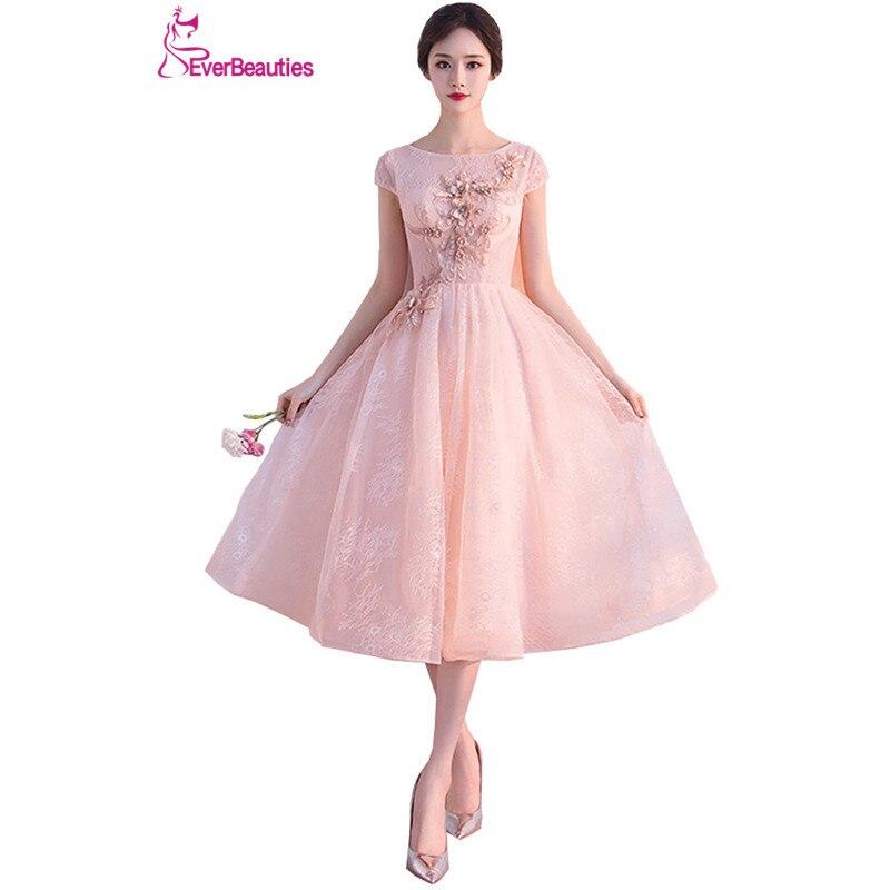 Elie Saab robe De soirée 2019 Tulle avec appliqué perlé pour bal De mariage thé longueur Vestidos De Noite Para Casamento