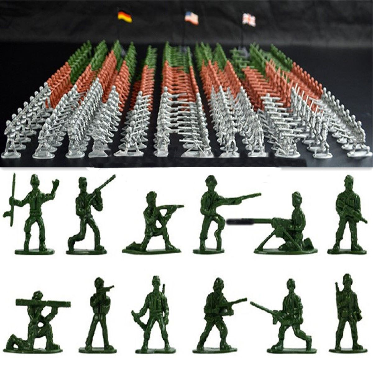 100pcs/set Military Plastic Toy Soldiers Army Men Figures 12 Poses Gift Toy Model Action Figure Toys For Children Boys soldiers character catboy owlette gekko cloak action figure toy plastic for boy birthday gift 6pcs set