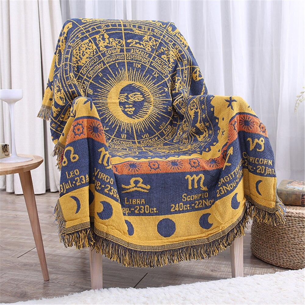 Bohemian Baumwolle Gestrickte Dekorative Sofa Decke Gewinde Decke für Betten Weichen Bett Plaid Vintage Wirft Wohnkultur Tapisserie-in Decken aus Heim und Garten bei  Gruppe 2