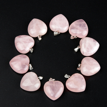 Popular Pendants Natural stone Heart Pendulum Crystal Rose quartz Healing Reiki Beads 10/pce lot Free shipping