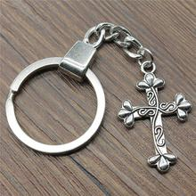 New Vintage Keychain Antique Silver Color 35x23mm Cross Pendant Key Chain Ring Holder Dropshipping