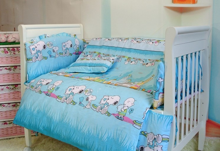 Promotion! 7pcs baby bedding package cotton baby bumper, baby bed set, (bumper+duvet+matress+pillow) цена