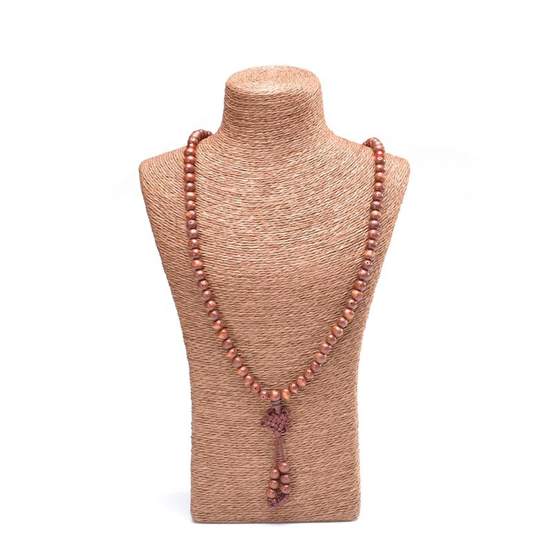 Biji Bodhi Semula Jadi 108 Manik-manik Gelang Mala Yoga Kalung Tibet - Perhiasan fesyen - Foto 5