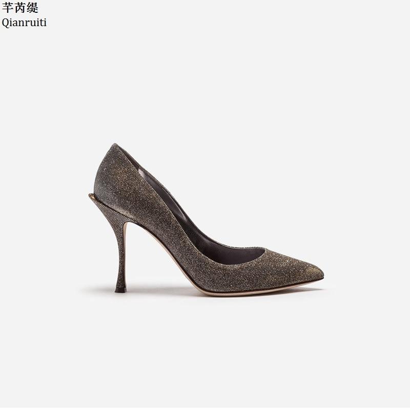 Parti Slip Pompes Shown As Femmes Stiletto Chaussures Hauts Simples Pointu Qianruiti Clouté as Bling Talons Shown on Paillettes Sexy Bout A7OZqw