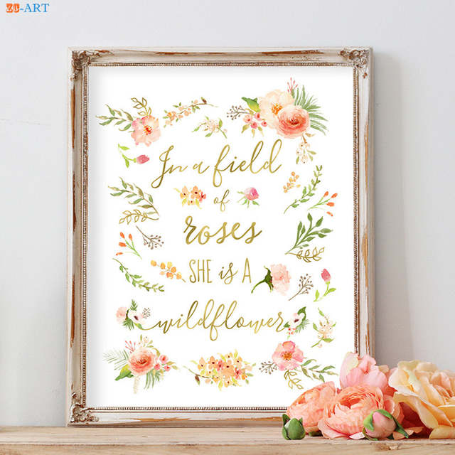 US $4.32 28% OFF|Floral Peach Pink Poster Watercolor Painting Canvas  Painting Quotes Prints Nursery Wall Art Baby Girl Room Home Decoration-in  ...